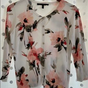 3/4 length Floral Snap Front Cardigan